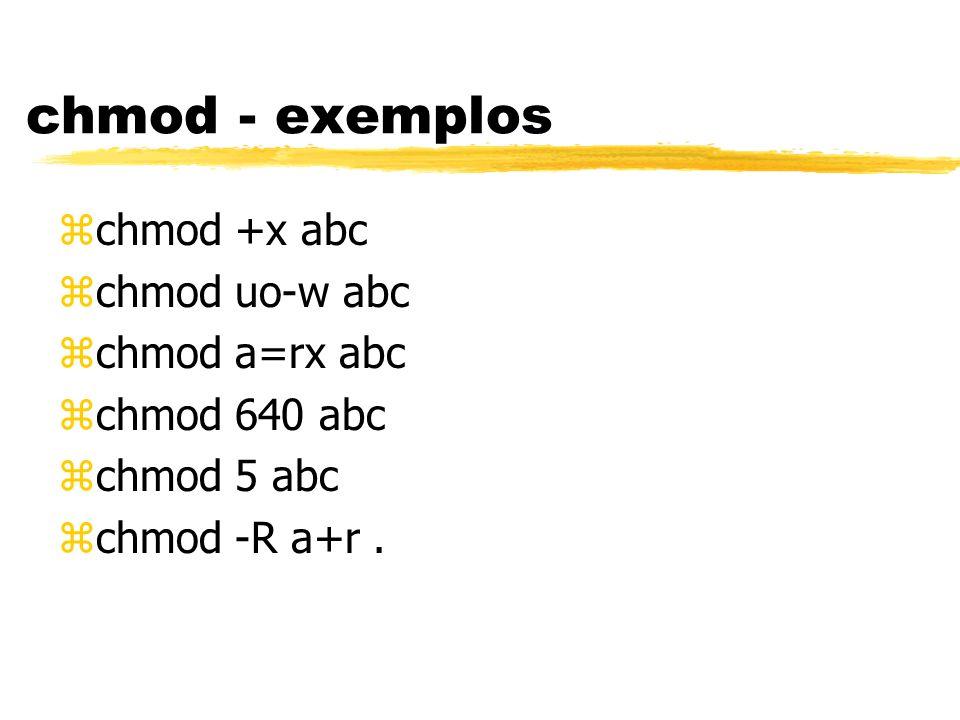 chmod - exemplos zchmod +x abc zchmod uo-w abc zchmod a=rx abc zchmod 640 abc zchmod 5 abc zchmod -R a+r.