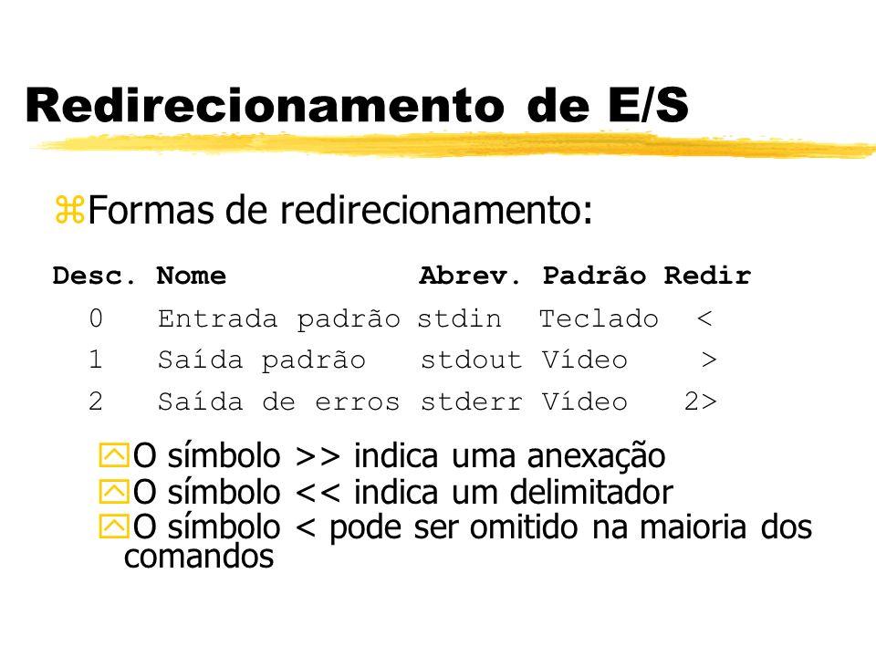 Redirecionamento de E/S zFormas de redirecionamento: Desc. Nome Abrev. Padrão Redir 0 Entrada padrão stdin Teclado < 1 Saída padrão stdout Vídeo > 2 S