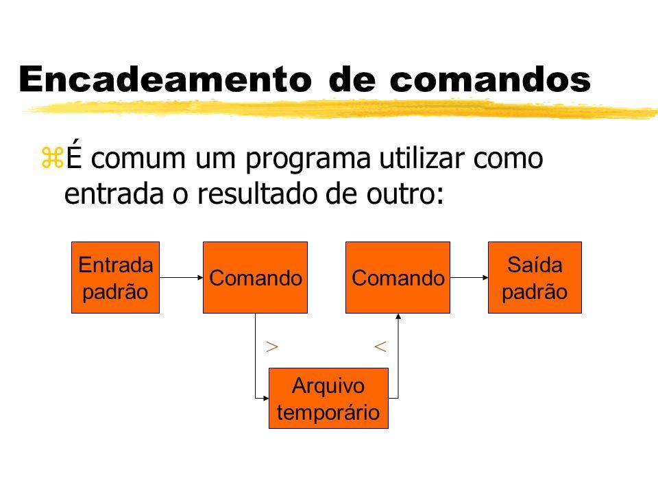 zÉ comum um programa utilizar como entrada o resultado de outro: Encadeamento de comandos > Comando Saída padrão Entrada padrão Comando Arquivo tempor