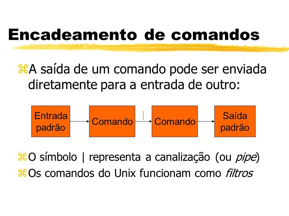 zA saída de um comando pode ser enviada diretamente para a entrada de outro: zO símbolo | representa a canalização (ou pipe) zOs comandos do Unix func