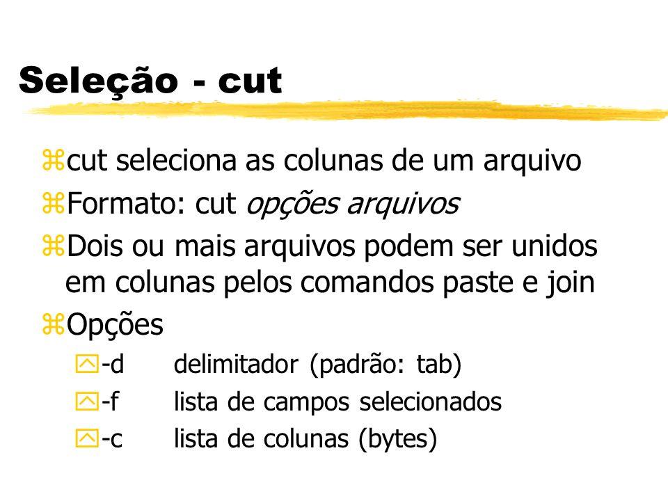 Seleção - cut zcut seleciona as colunas de um arquivo zFormato: cut opções arquivos zDois ou mais arquivos podem ser unidos em colunas pelos comandos