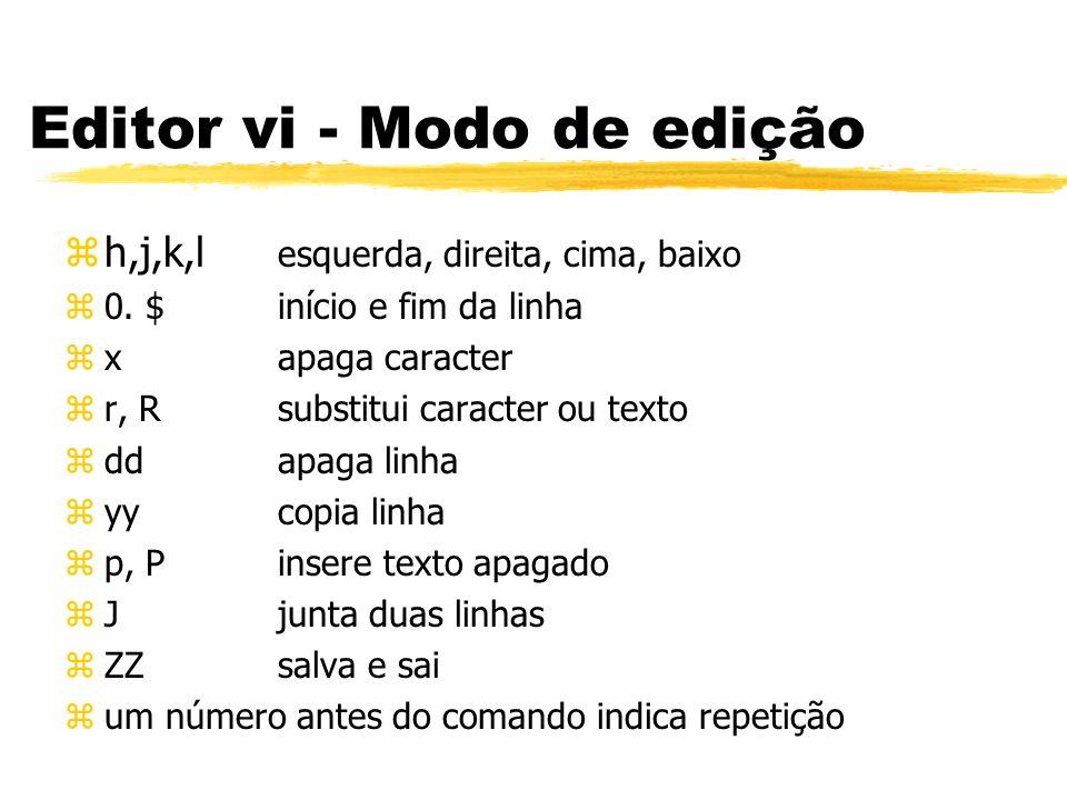 Editor vi - Modo de edição zh,j,k,l esquerda, direita, cima, baixo z0. $início e fim da linha zxapaga caracter zr, R substitui caracter ou texto zddap