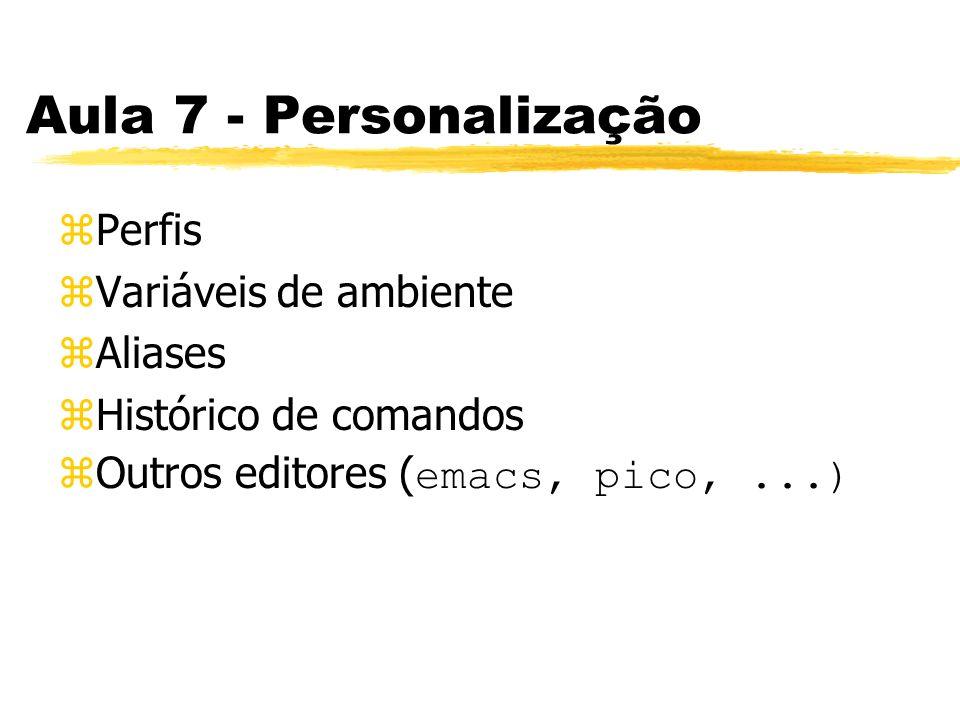 Aula 7 - Personalização zPerfis zVariáveis de ambiente zAliases zHistórico de comandos Outros editores ( emacs, pico,...)
