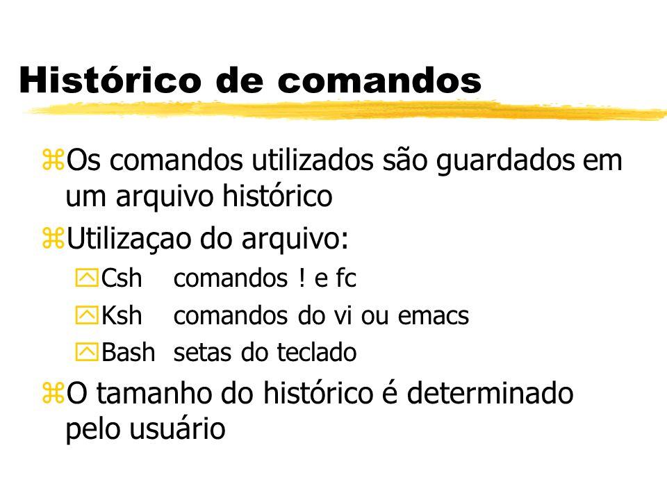 Histórico de comandos zOs comandos utilizados são guardados em um arquivo histórico zUtilizaçao do arquivo: yCshcomandos ! e fc yKshcomandos do vi ou