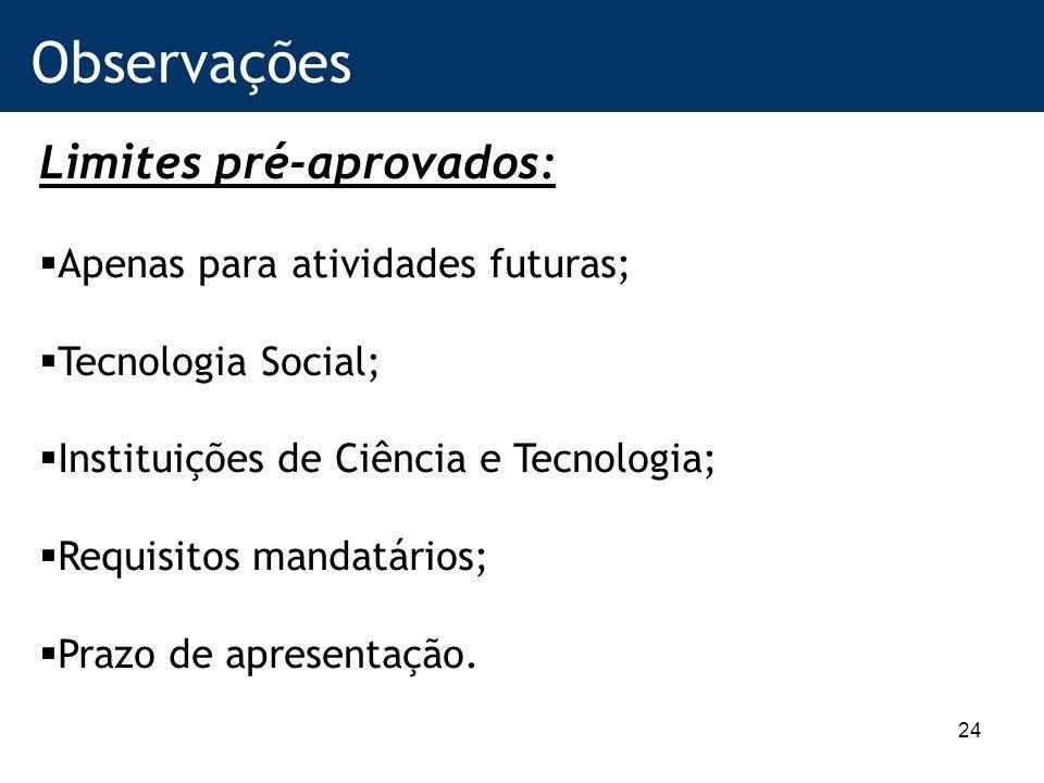 24 Observações Limites pré-aprovados: Apenas para atividades futuras; Tecnologia Social; Instituições de Ciência e Tecnologia; Requisitos mandatários; Prazo de apresentação.