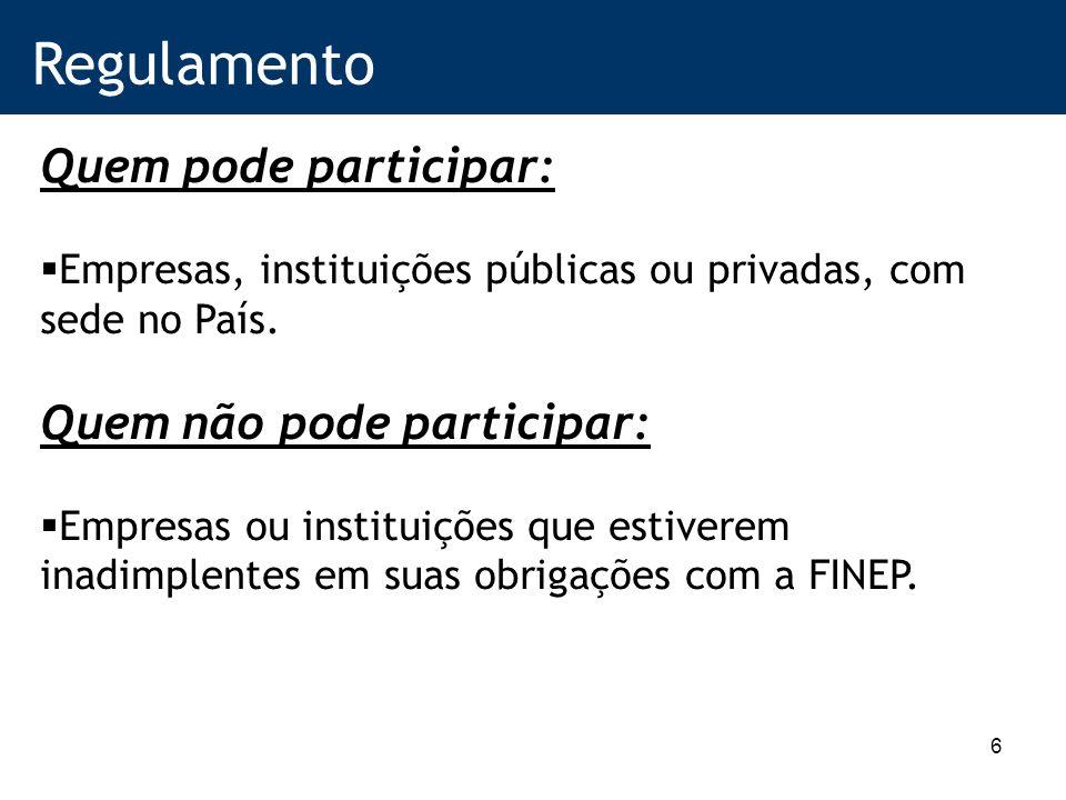 6 Regulamento Quem pode participar: Empresas, instituições públicas ou privadas, com sede no País.