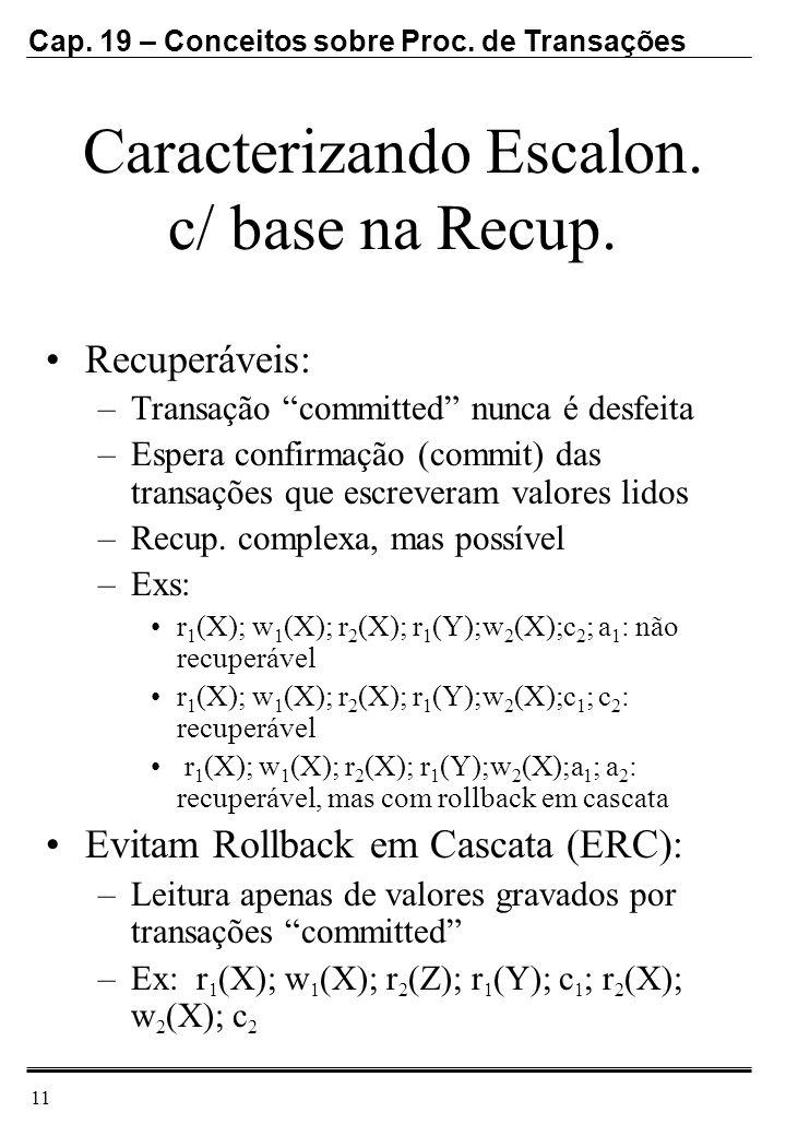 Cap. 19 – Conceitos sobre Proc. de Transações 11 Caracterizando Escalon. c/ base na Recup. Recuperáveis: –Transação committed nunca é desfeita –Espera