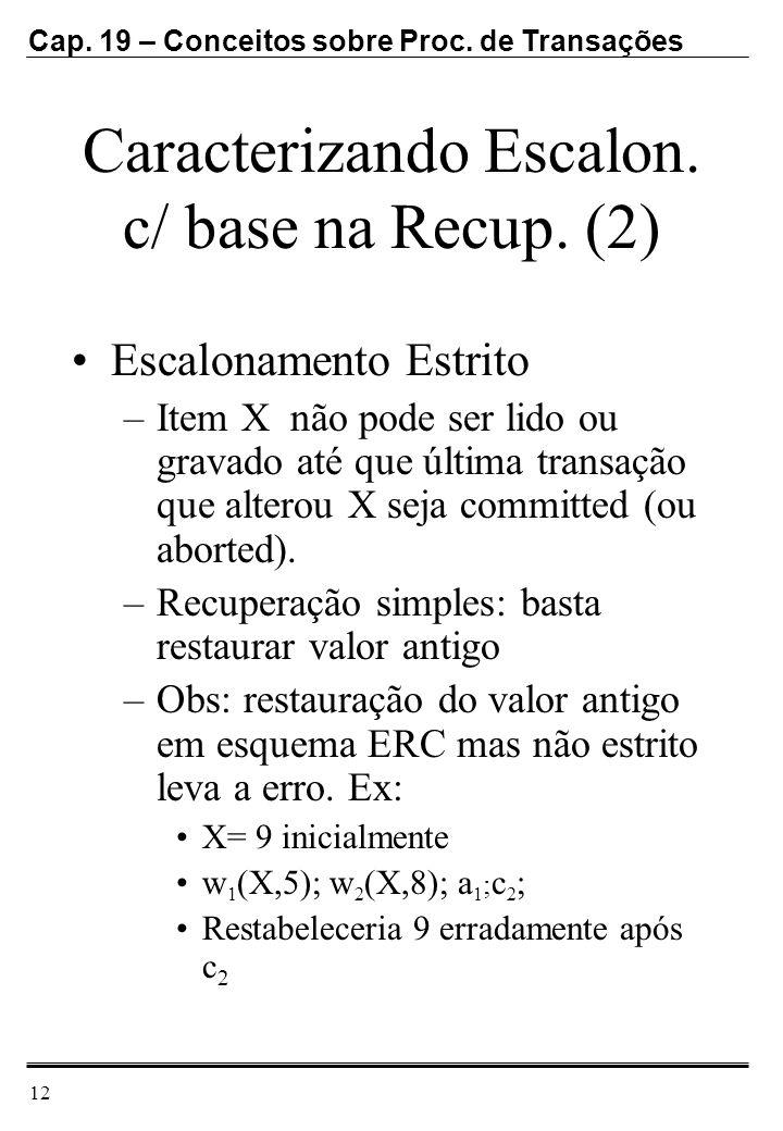 Cap. 19 – Conceitos sobre Proc. de Transações 12 Caracterizando Escalon. c/ base na Recup. (2) Escalonamento Estrito –Item X não pode ser lido ou grav