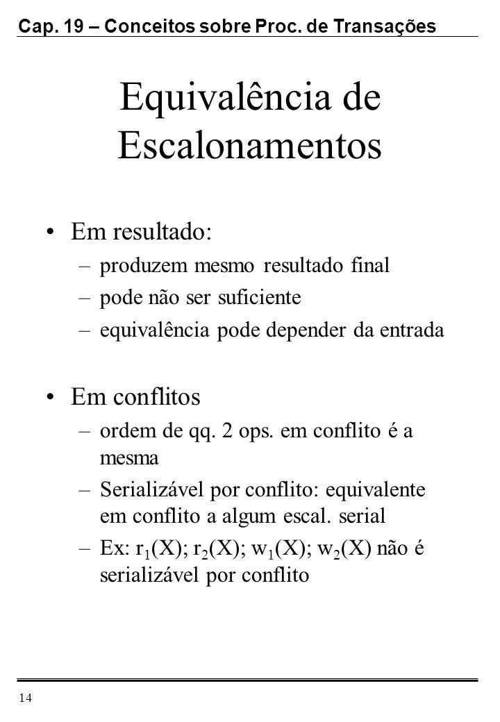 Cap. 19 – Conceitos sobre Proc. de Transações 14 Equivalência de Escalonamentos Em resultado: –produzem mesmo resultado final –pode não ser suficiente