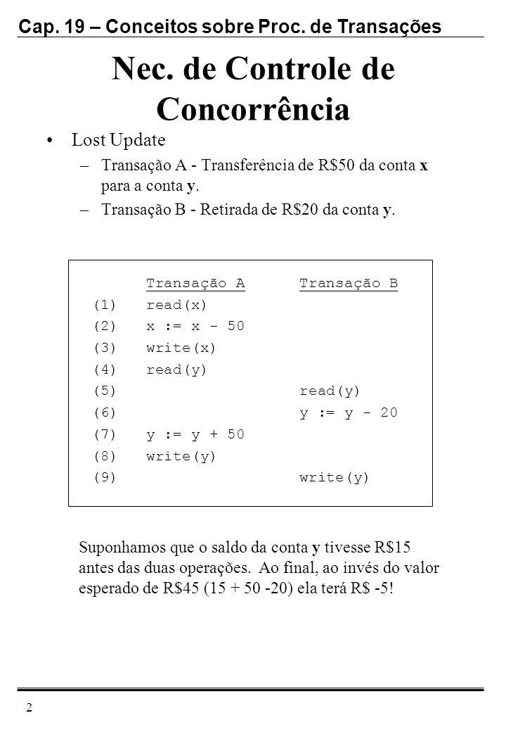 Cap. 19 – Conceitos sobre Proc. de Transações 2 Nec. de Controle de Concorrência Lost Update –Transação A - Transferência de R$50 da conta x para a co