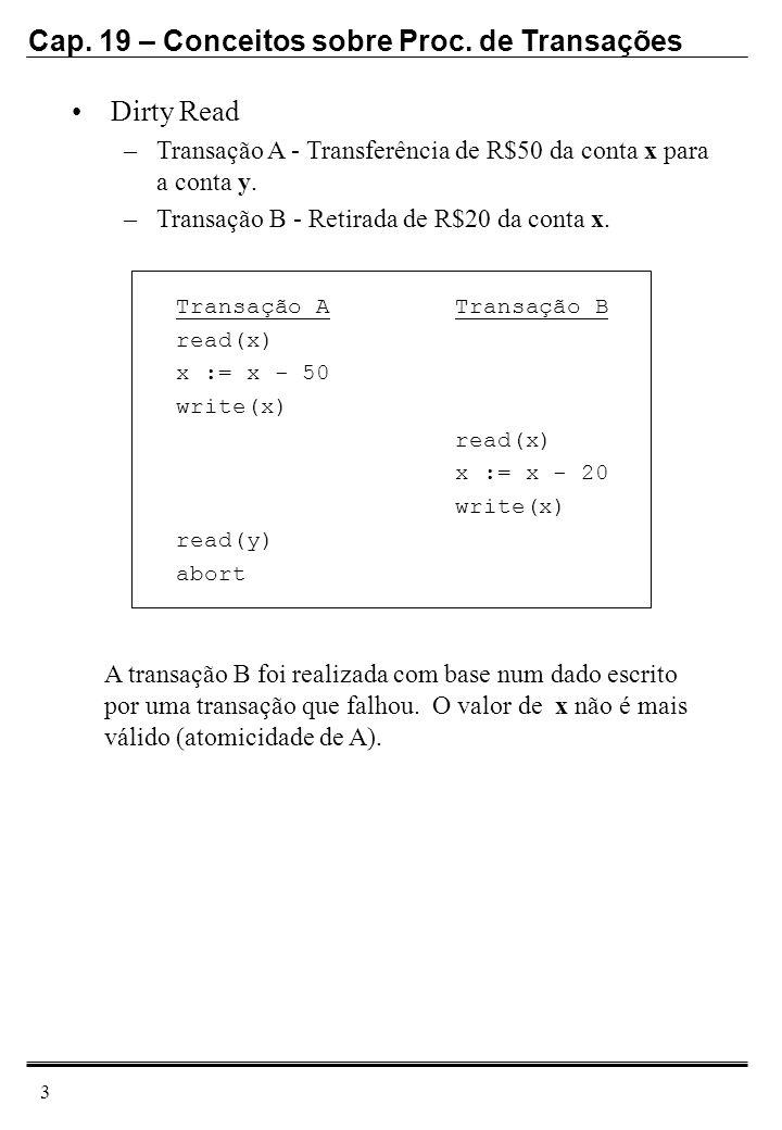 Cap. 19 – Conceitos sobre Proc. de Transações 3 Dirty Read –Transação A - Transferência de R$50 da conta x para a conta y. –Transação B - Retirada de