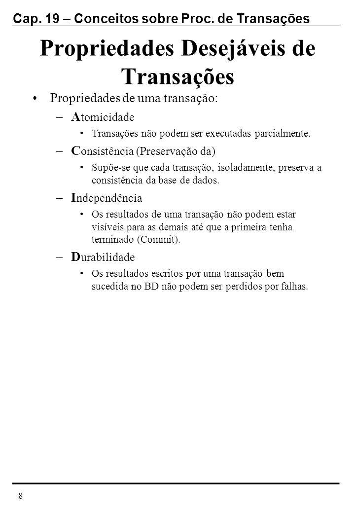 Cap. 19 – Conceitos sobre Proc. de Transações 8 Propriedades Desejáveis de Transações Propriedades de uma transação: –A tomicidade Transações não pode