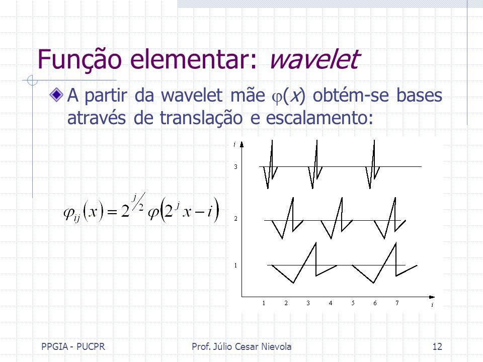 PPGIA - PUCPRProf. Júlio Cesar Nievola12 Função elementar: wavelet A partir da wavelet mãe (x) obtém-se bases através de translação e escalamento: