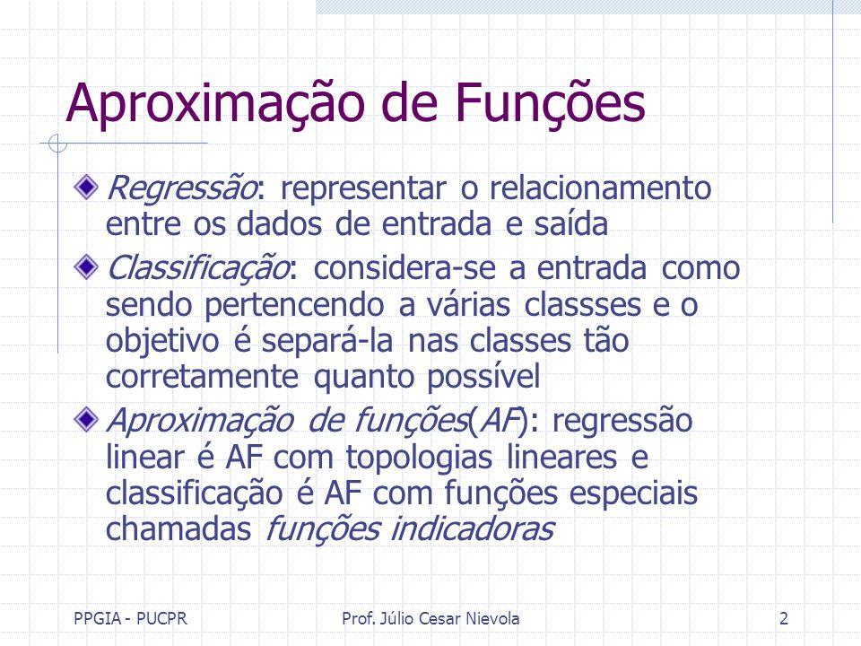 PPGIA - PUCPRProf. Júlio Cesar Nievola2 Aproximação de Funções Regressão: representar o relacionamento entre os dados de entrada e saída Classificação