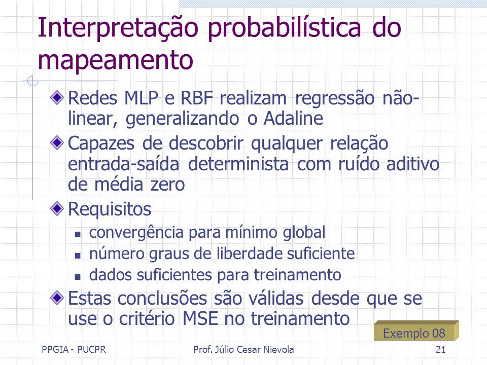 PPGIA - PUCPRProf. Júlio Cesar Nievola21 Interpretação probabilística do mapeamento Redes MLP e RBF realizam regressão não- linear, generalizando o Ad