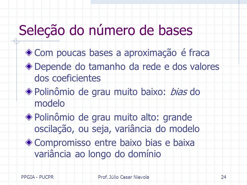 PPGIA - PUCPRProf. Júlio Cesar Nievola24 Seleção do número de bases Com poucas bases a aproximação é fraca Depende do tamanho da rede e dos valores do