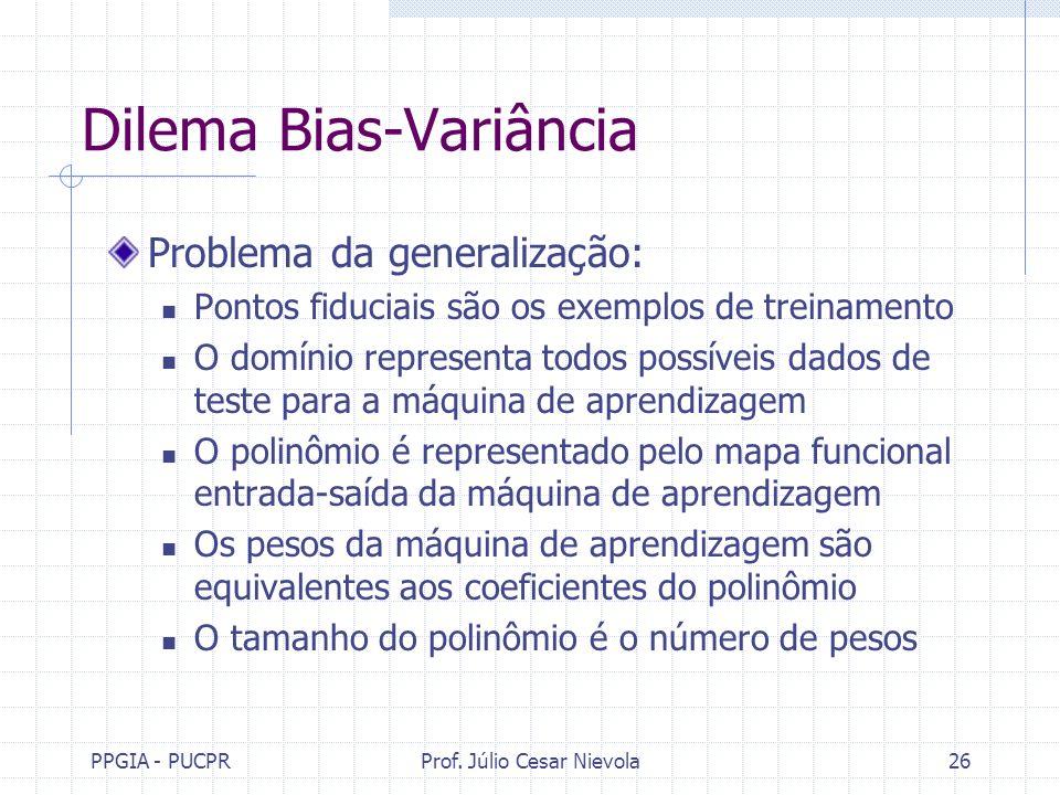PPGIA - PUCPRProf. Júlio Cesar Nievola26 Dilema Bias-Variância Problema da generalização: Pontos fiduciais são os exemplos de treinamento O domínio re