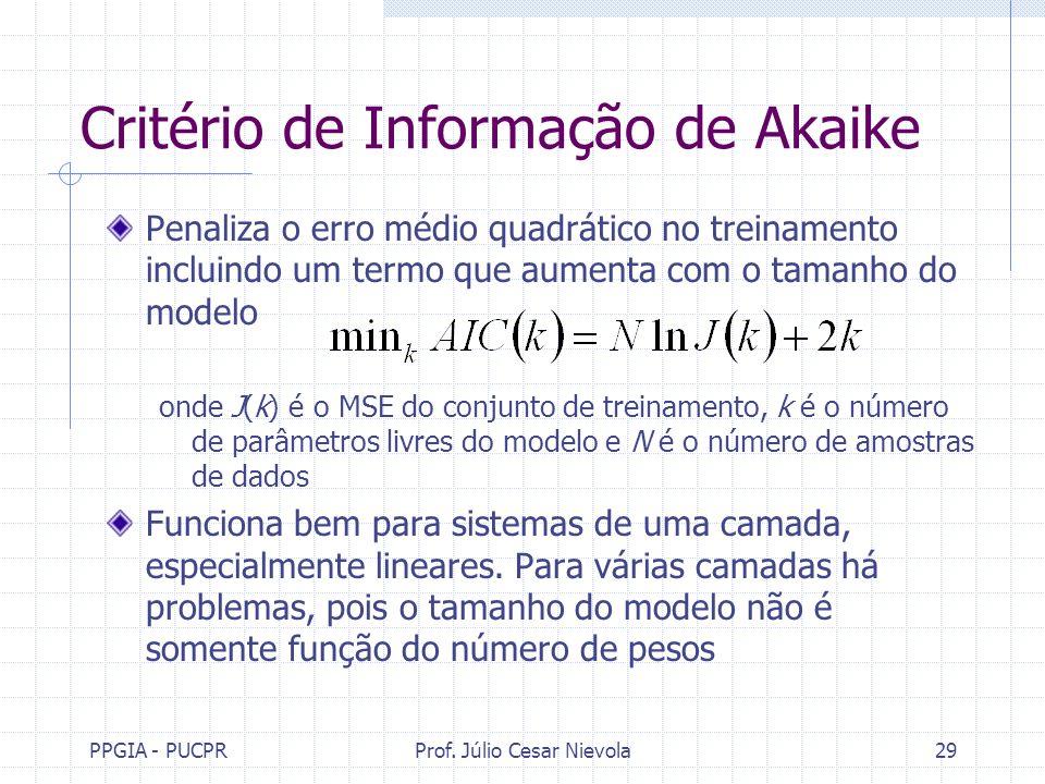 PPGIA - PUCPRProf. Júlio Cesar Nievola29 Critério de Informação de Akaike Penaliza o erro médio quadrático no treinamento incluindo um termo que aumen