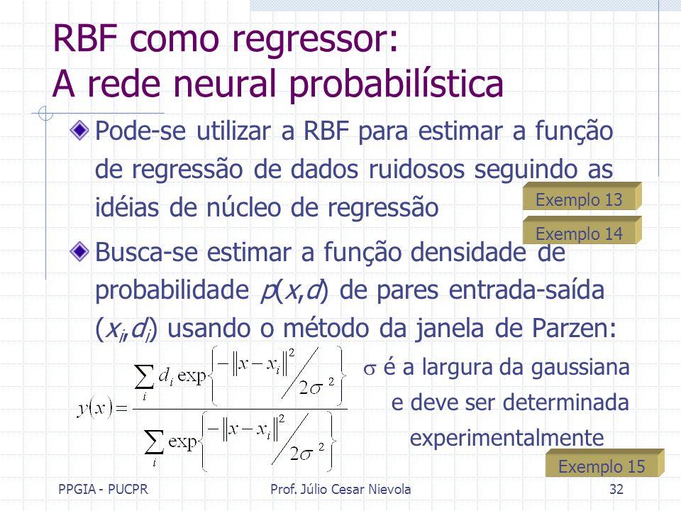 PPGIA - PUCPRProf. Júlio Cesar Nievola32 RBF como regressor: A rede neural probabilística Pode-se utilizar a RBF para estimar a função de regressão de