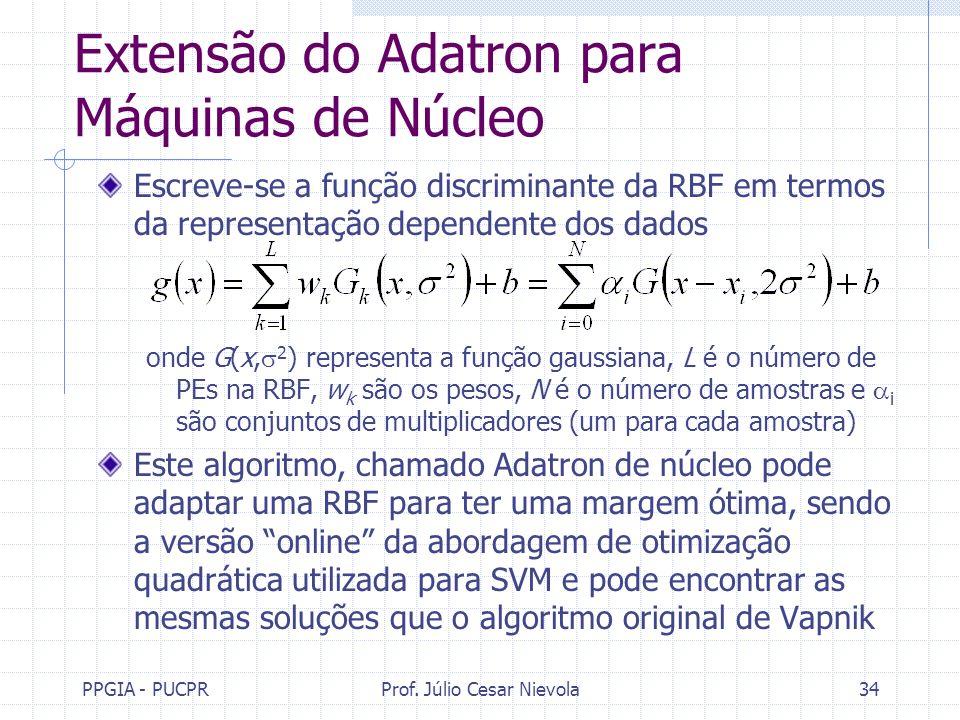 PPGIA - PUCPRProf. Júlio Cesar Nievola34 Extensão do Adatron para Máquinas de Núcleo Escreve-se a função discriminante da RBF em termos da representaç