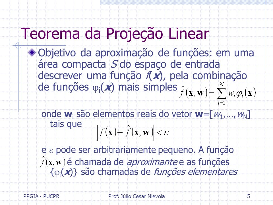 PPGIA - PUCPRProf. Júlio Cesar Nievola5 Teorema da Projeção Linear Objetivo da aproximação de funções: em uma área compacta S do espaço de entrada des