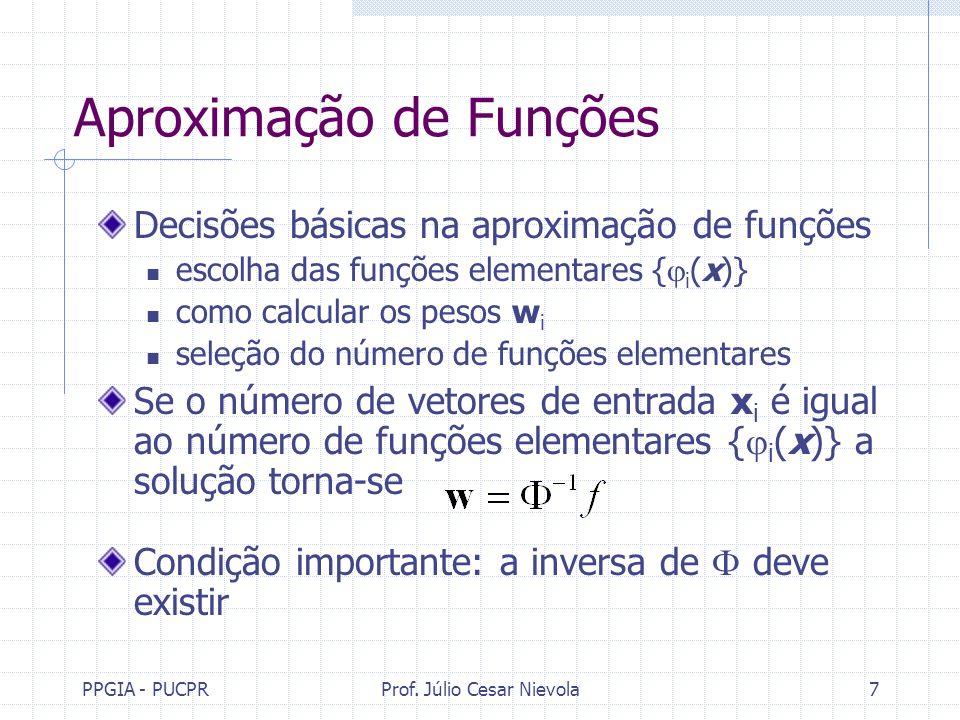 PPGIA - PUCPRProf. Júlio Cesar Nievola7 Aproximação de Funções Decisões básicas na aproximação de funções escolha das funções elementares { i (x)} com