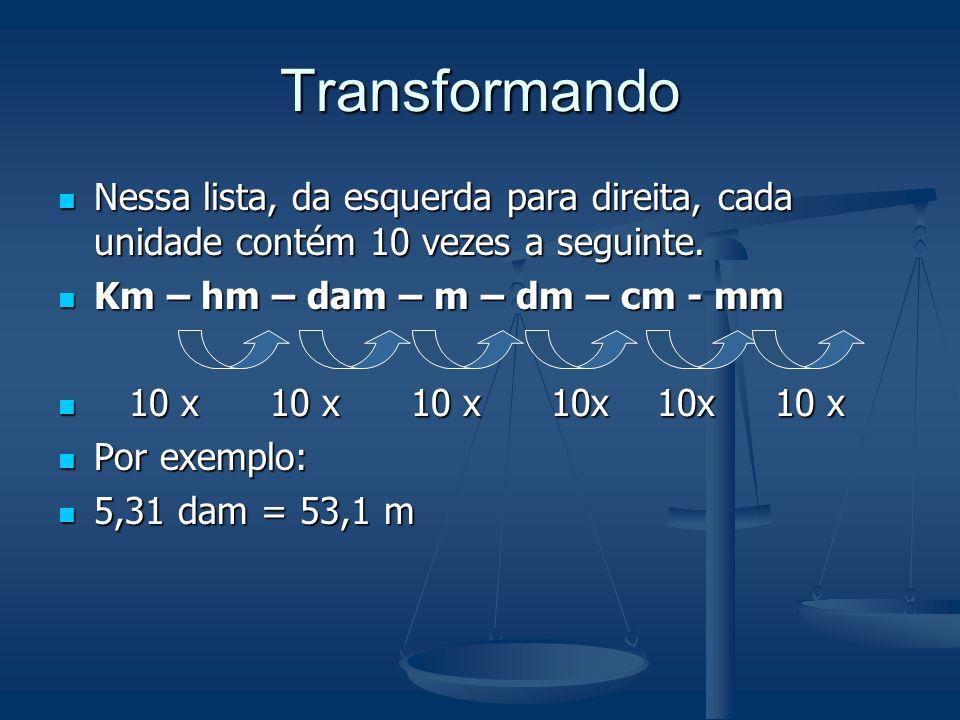 Transformação de Unidades Um mesmo comprimento pode ser fornecido em unidades diferentes. Por exemplo, uma pessoa pode dizer que mora a 500 m ou 0,5 k