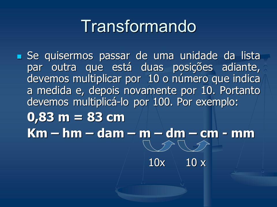 Transformando Nessa lista, da esquerda para direita, cada unidade contém 10 vezes a seguinte. Km – hm – dam – m – dm – cm - mm 1 10 x 10 x 10 x 10x 10