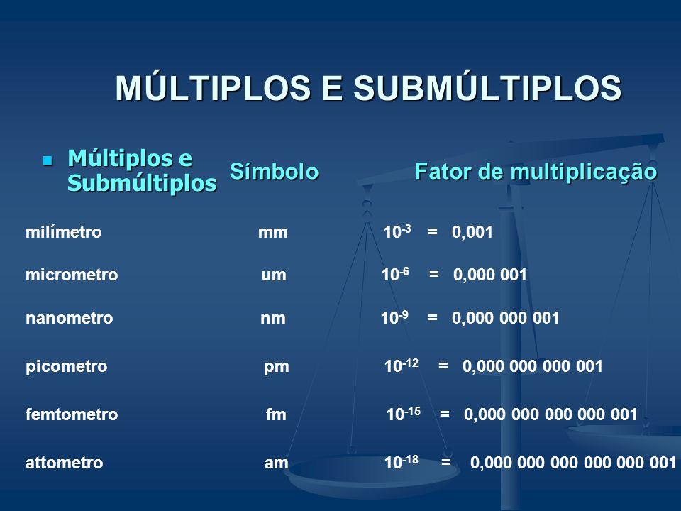 MÚLTIPLOS E SUBMÚLTIPLOS Múltiplos e Submúltiplos Múltiplos e Submúltiplos Símbolo Fator de multiplicação megametro Mm 10 6 = 1 000 000 quilômetro km