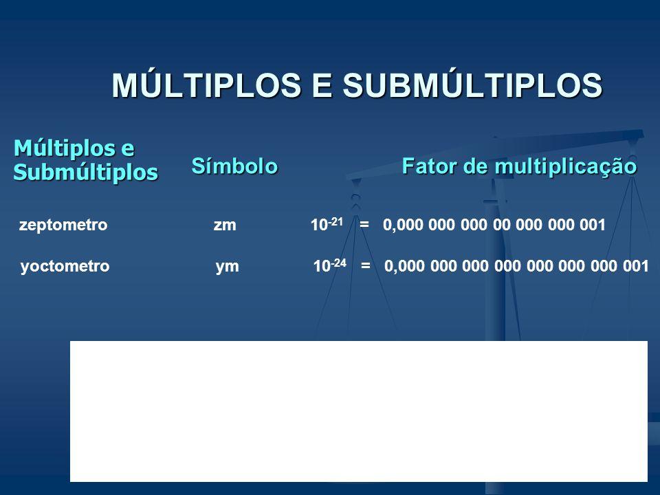MÚLTIPLOS E SUBMÚLTIPLOS Múltiplos e Submúltiplos Múltiplos e Submúltiplos Símbolo Fator de multiplicação milímetro mm 10 -3 = 0,001 micrometro um 10