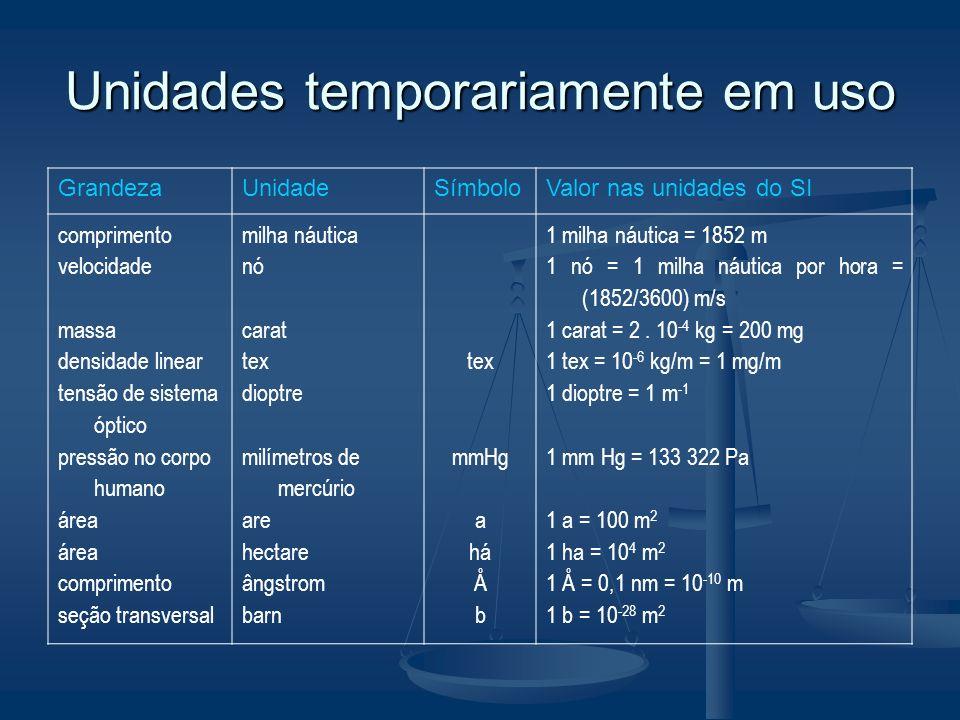 Unidades em uso com o SI GrandezaUnidadeSímboloValor nas unidades do SI tempo ângulo volume massa pressão temperatura minuto hora dia grau minuto segu