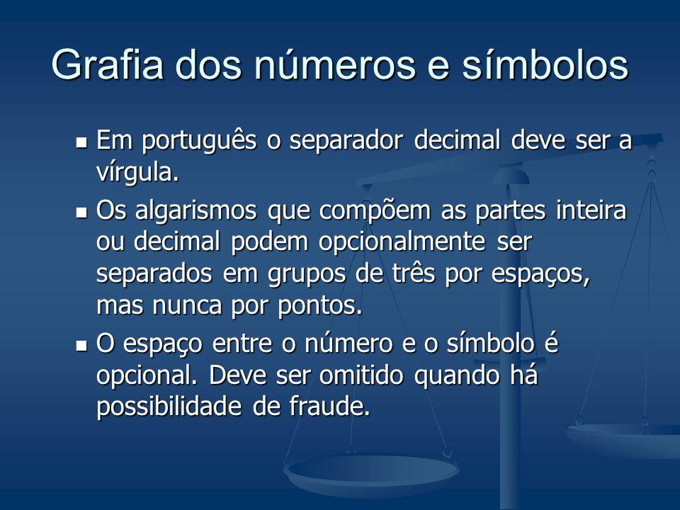 Os símbolos das unidades Os símbolos são invariáveis, não sendo admitido colocar, após o símbolo, seja ponto de abreviatura, seja