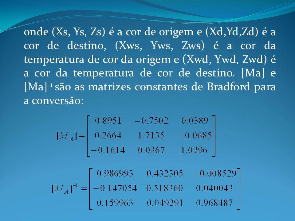 onde (Xs, Ys, Zs) é a cor de origem e (Xd,Yd,Zd) é a cor de destino, (Xws, Yws, Zws) é a cor da temperatura de cor da origem e (Xwd, Ywd, Zwd) é a cor
