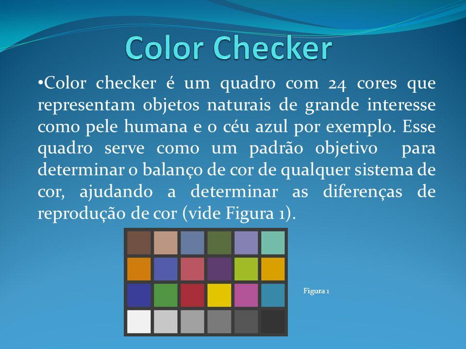 Color checker é um quadro com 24 cores que representam objetos naturais de grande interesse como pele humana e o céu azul por exemplo. Esse quadro ser