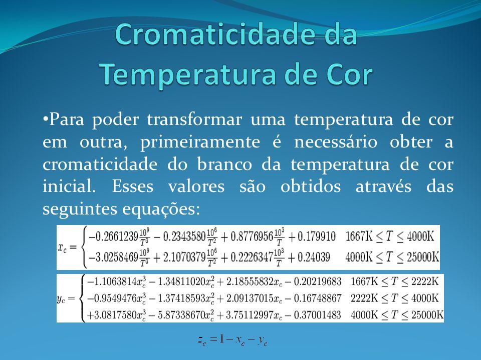 Para poder transformar uma temperatura de cor em outra, primeiramente é necessário obter a cromaticidade do branco da temperatura de cor inicial. Esse