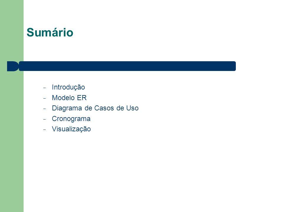 Sumário Introdução Modelo ER Diagrama de Casos de Uso Cronograma Visualização