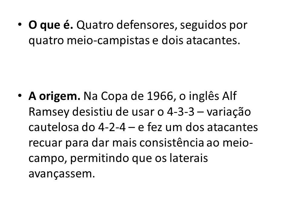O que é. Quatro defensores, seguidos por quatro meio-campistas e dois atacantes. A origem. Na Copa de 1966, o inglês Alf Ramsey desistiu de usar o 4-3