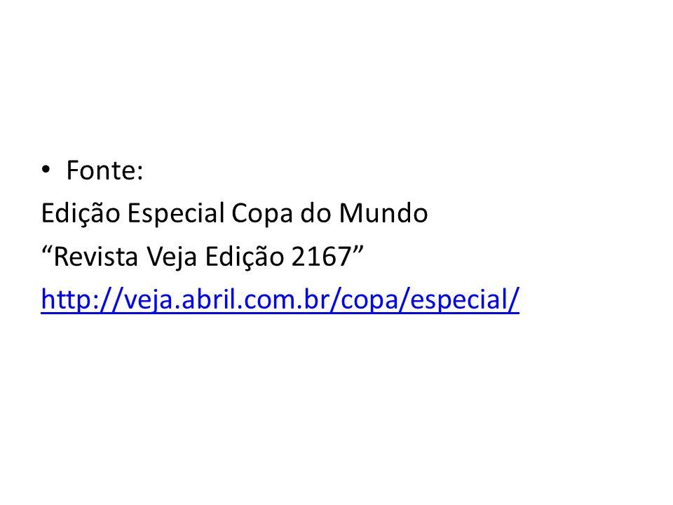 Fonte: Edição Especial Copa do Mundo Revista Veja Edição 2167 http://veja.abril.com.br/copa/especial/