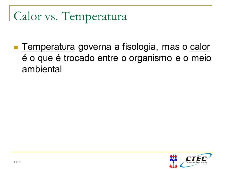 11:11 Calor vs. Temperatura Temperatura governa a fisologia, mas o calor é o que é trocado entre o organismo e o meio ambiental