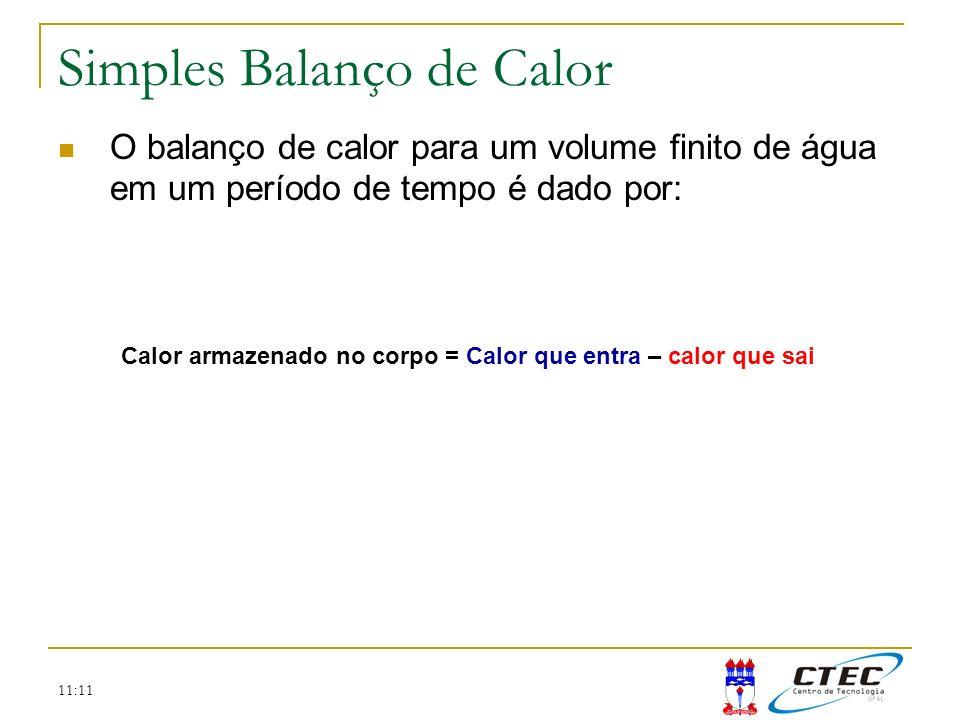 11:11 Simples Balanço de Calor O balanço de calor para um volume finito de água em um período de tempo é dado por: Calor armazenado no corpo = Calor q