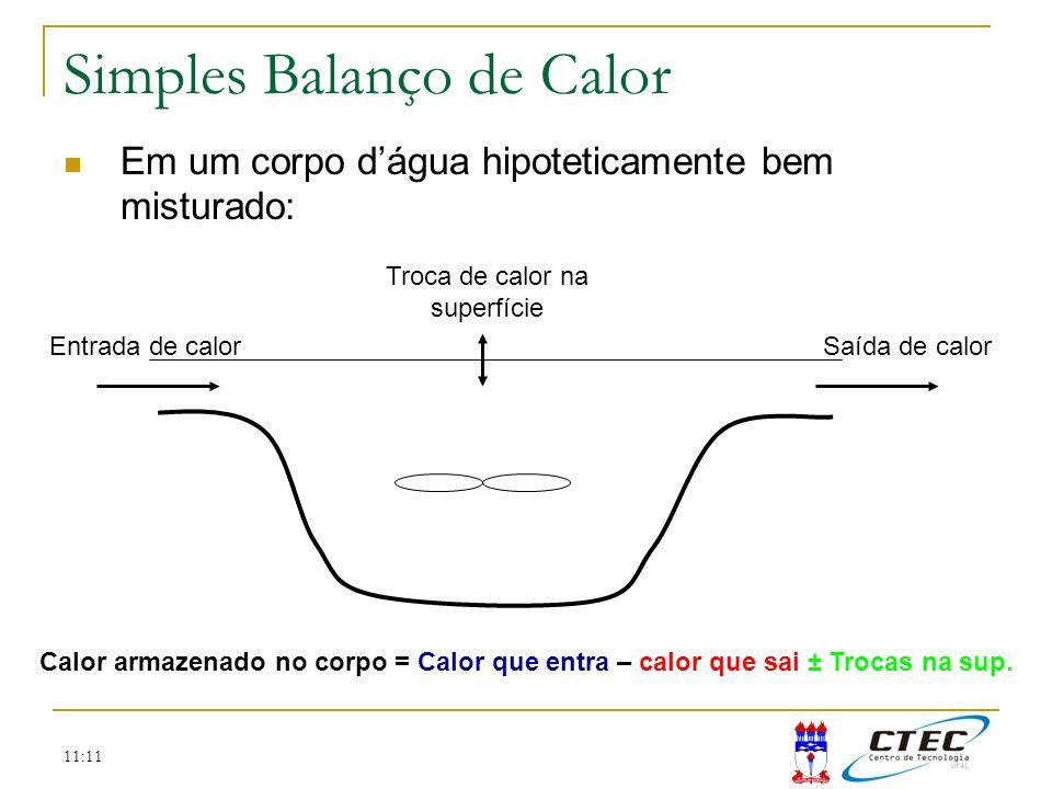 11:11 Simples Balanço de Calor Em um corpo dágua hipoteticamente bem misturado: Calor armazenado no corpo = Calor que entra – calor que sai ± Trocas n