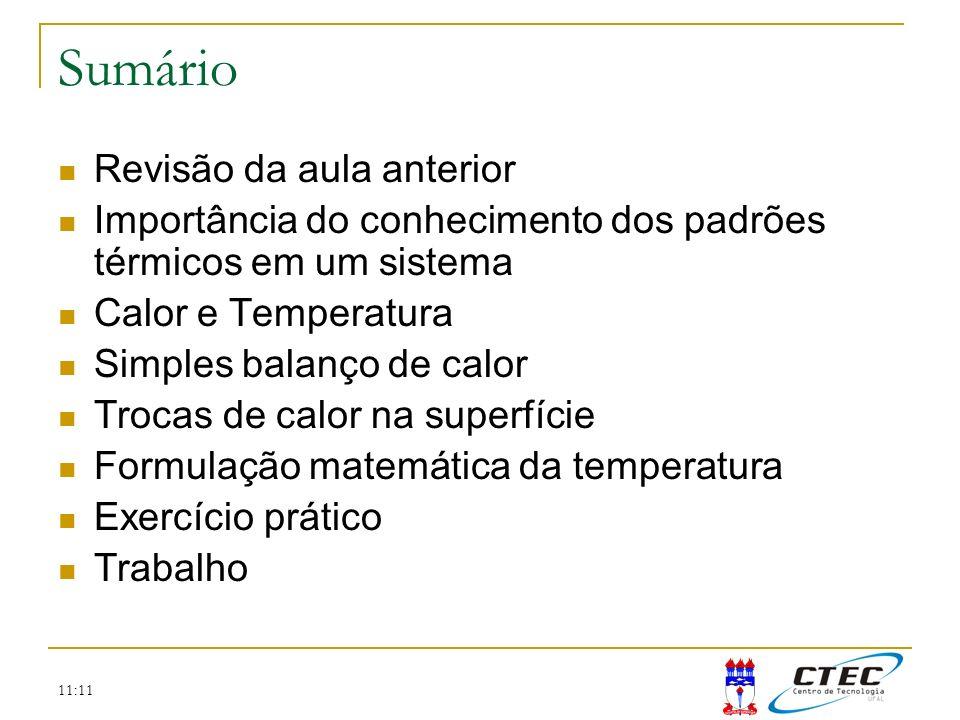11:11 Sumário Revisão da aula anterior Importância do conhecimento dos padrões térmicos em um sistema Calor e Temperatura Simples balanço de calor Tro