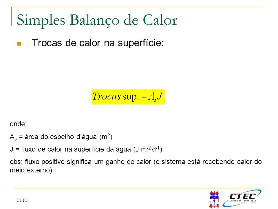 11:11 Simples Balanço de Calor Trocas de calor na superfície: onde: A s = área do espelho dágua (m 2 ) J = fluxo de calor na superfície da água (J m -