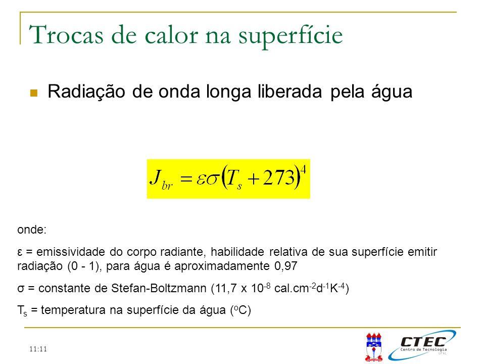 11:11 Trocas de calor na superfície Radiação de onda longa liberada pela água onde: ε = emissividade do corpo radiante, habilidade relativa de sua sup