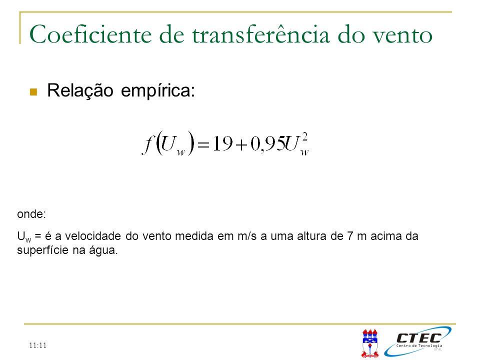 11:11 Temperatura Coeficiente de transferência do vento Relação empírica: onde: U w = é a velocidade do vento medida em m/s a uma altura de 7 m acima