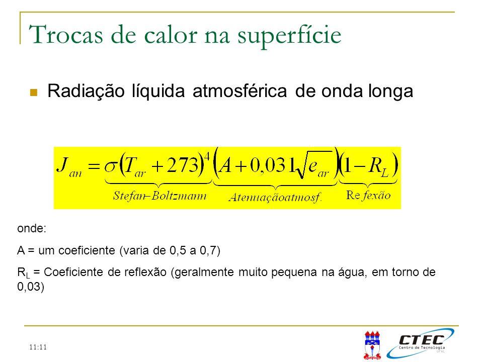11:11 Trocas de calor na superfície Radiação líquida atmosférica de onda longa onde: A = um coeficiente (varia de 0,5 a 0,7) R L = Coeficiente de refl