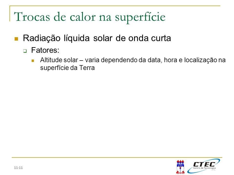 11:11 Trocas de calor na superfície Radiação líquida solar de onda curta Fatores: Altitude solar – varia dependendo da data, hora e localização na sup