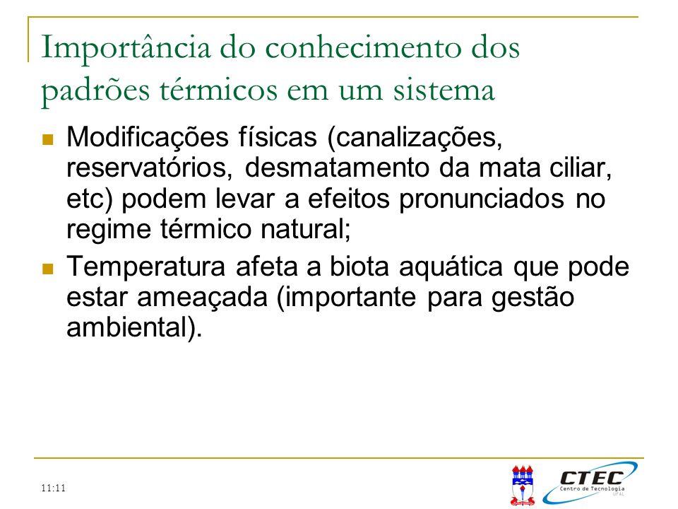 11:11 Importância do conhecimento dos padrões térmicos em um sistema Modificações físicas (canalizações, reservatórios, desmatamento da mata ciliar, e