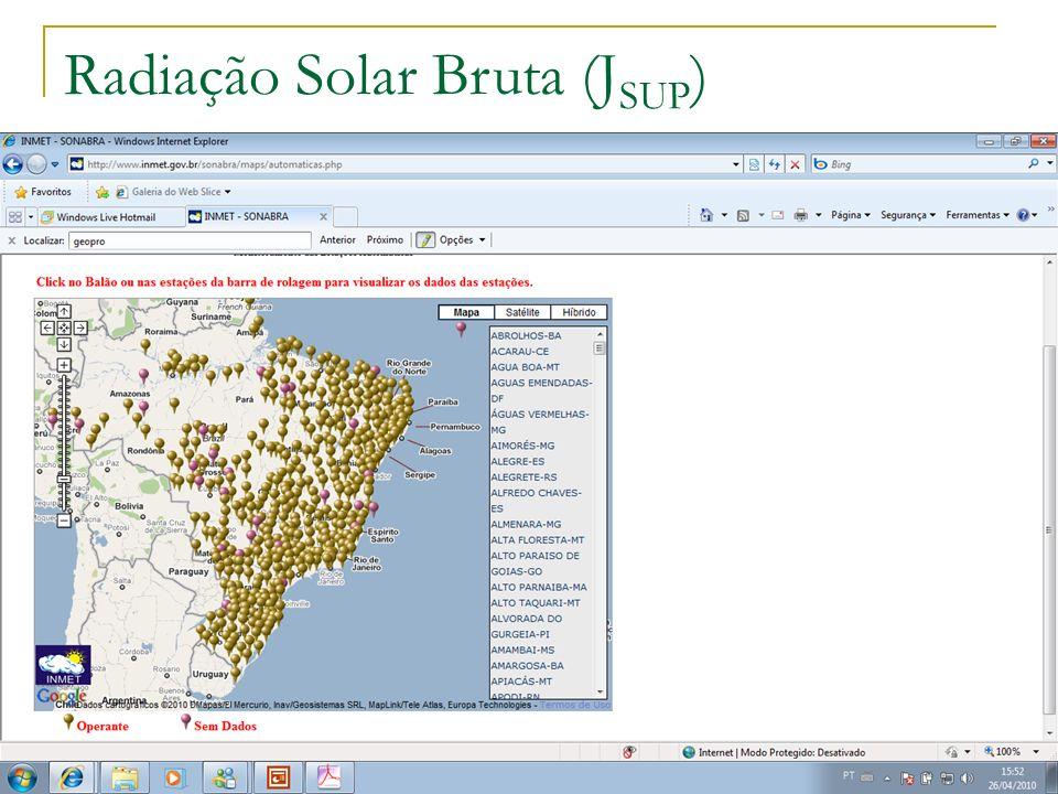 11:11 Dados meteorológicos Radiação Solar Bruta (J SUP )