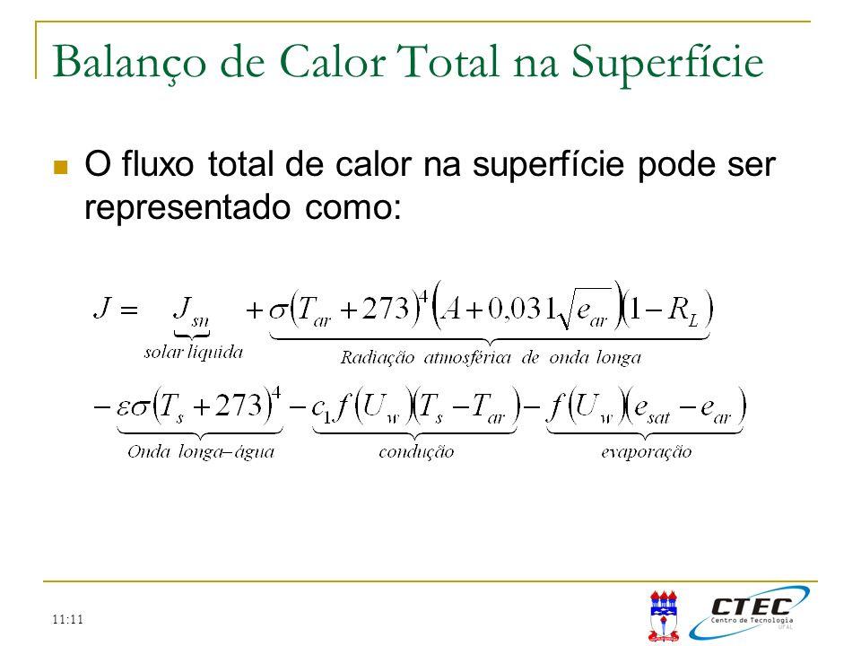 11:11 Balanço de Calor Total na Superfície O fluxo total de calor na superfície pode ser representado como: